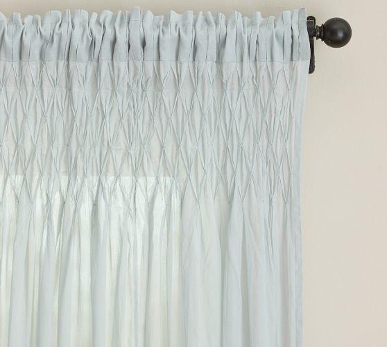 Smocked Cotton Voile Pole Pocket Drape 42 X 84