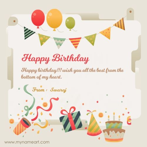 SWARAJ Name Image Of New Birthday Wishes With Editor Online