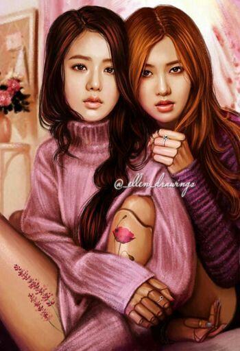 JiRosé/RoséSoo #Jisoo #Rosé  #Blackpink  #Art
