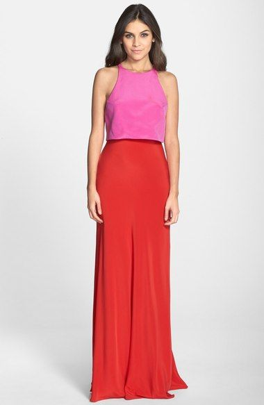 Jill Jill Stuart Colorblock Popover Crepe Gown available at #Nordstrom