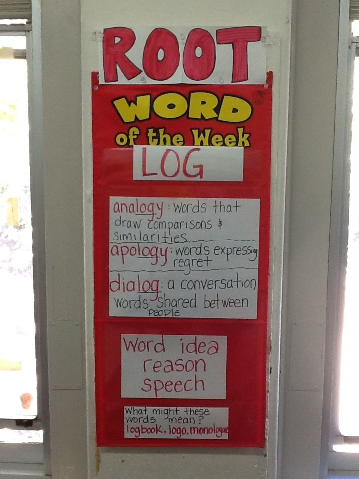 Changed my word of the week pocket chart from elementary school into a ROOT word…