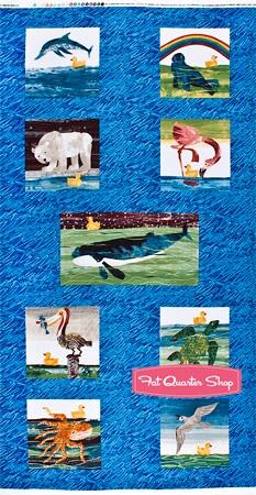 10 Little Rubber Ducks Teal Friendly Creatures Quilt Panel SKU# 5695-M bathroom
