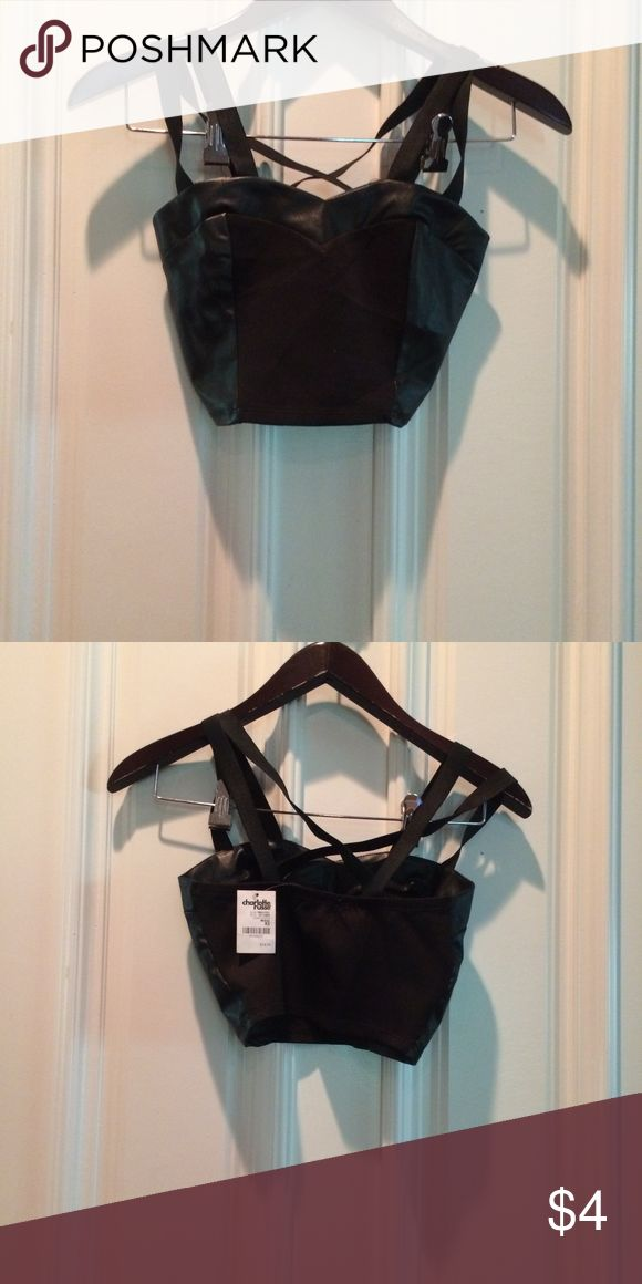 Charlotte Rousse Night Faux Leather Bra Top New with tags, perfect Tops Tank Tops