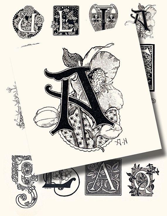 Art nouveau letters a vintage printable digital collage for Shoulder decoration 9 letters