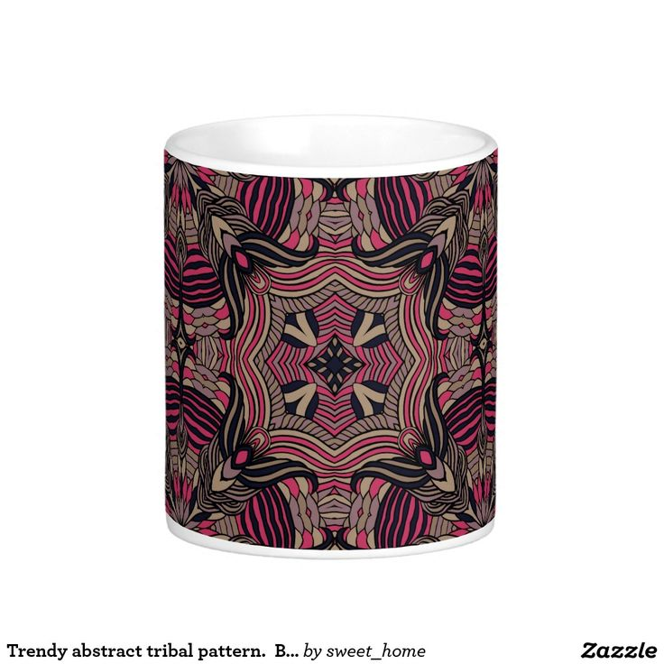 Trendy abstract tribal pattern.  Brown and pink. Coffee Mug  For home design and decor. Beautiful home accessories ideas. Luxury elegant style.