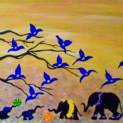 Chic Elephants Art # Safari nursery decor# cute elephants nursery wall art#baby animals wall art #original Painting 16h x 20w in Canadian Artist Geanna Georgescu from Ontario - Acrylic in , Wildlife Art
