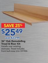 """36"""" Oak Remodelling Tread & Riser Kit from Lowe's $25.49 (25% Off) -"""