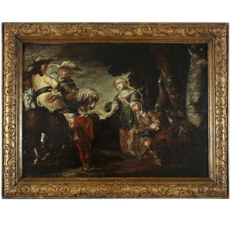 Author: Unknown Century: 17th Description: A genre scene taking place on the edge of the forest. On the left, we see two riders on horseback, while a