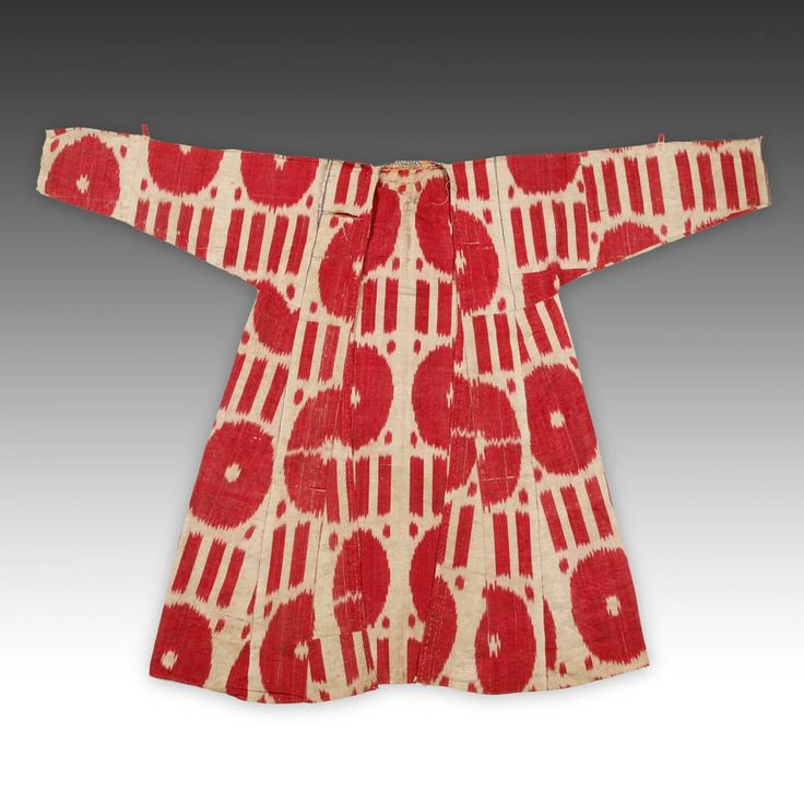 IKAT DRESS OR TUNIC FRAGMENT UZBEKISTAN, CENTRAL ASIA LATE 19TH C. ADRAS BLEND OF SILK & COTTON 60'' W x 40.5'' L