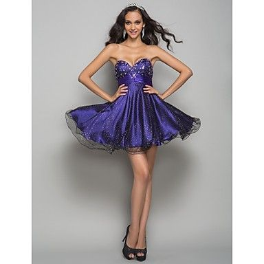 Free Measurements ! A-line Sweetheart Short/Mini Print Tulle Cocktail/Prom Dress – USD $ 97.49