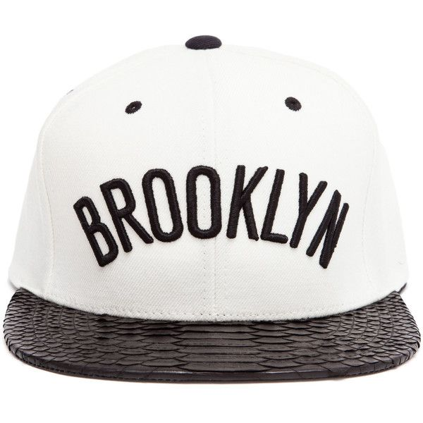 Just Don Unisex Brooklyn Baseball Cap ($500) ❤ liked on Polyvore featuring accessories, hats, head, headwear, snapback, black leather snapback, snapback hats, black hat, leather snapback and black snapback