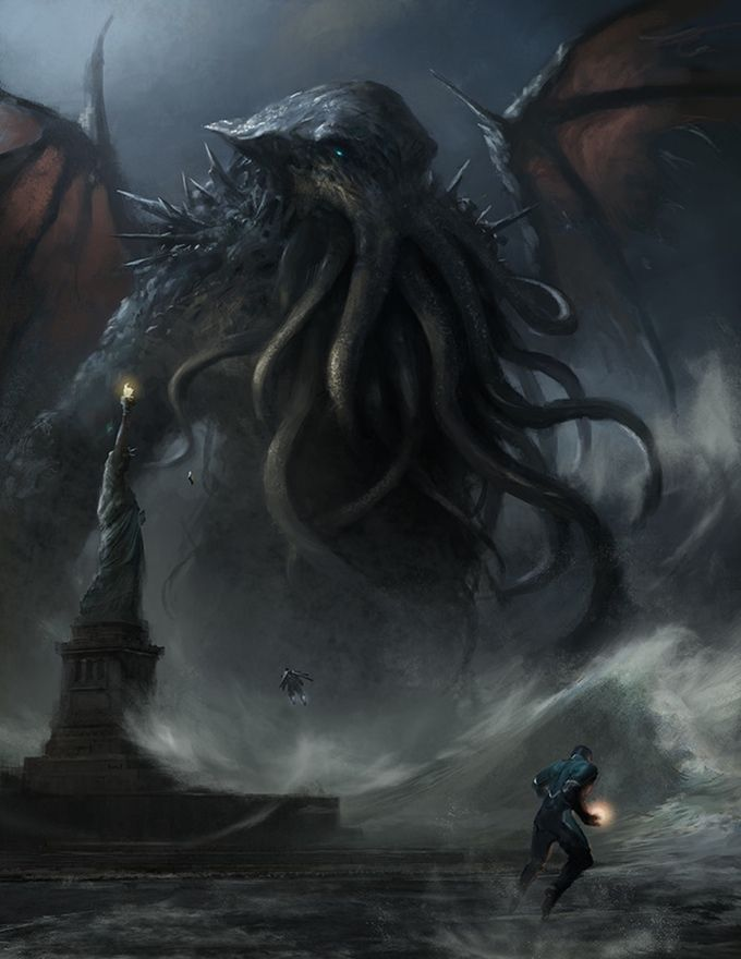 STRANGE ARCANA: The Stars Are Right Mighty heroes battle Lovecraftian horrors! Liberty Fight Art print by Grosnez