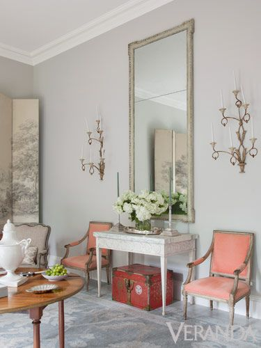 """I grew up with gracious entertaining,"" says Randolph, whose drawing room is designed for gatherings."