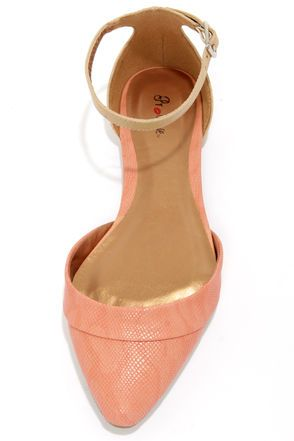 Promise Wira Coral and Beige D'Orsay Pointed Flats.