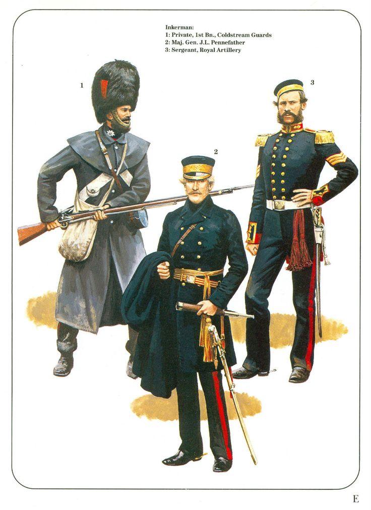 British; Crimea, Inkerman November 1854. L to R 1st Bn. Coldstream, Private, Major-General J.L.Pennefather & Royal Artillery, Sergeant.