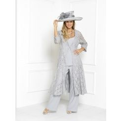 Florentyna Dawn Silver Lace Brigitte Swing Coat with Top and Trousers (FD1752)