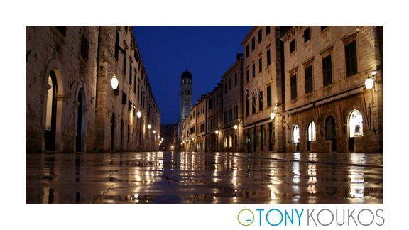 nightscape, lanterns, windows, street, water, sky, night, dubrovnik, croatia, europe, travel, photography, art, Tony koukos