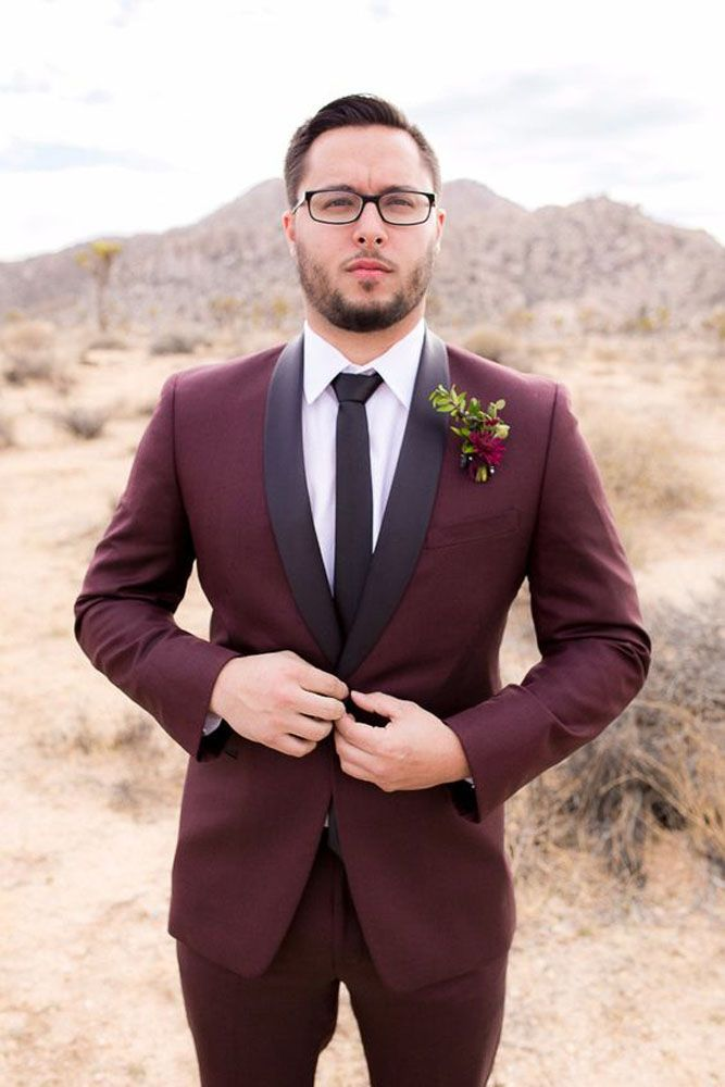 burgundy wedding groom in marsala suit