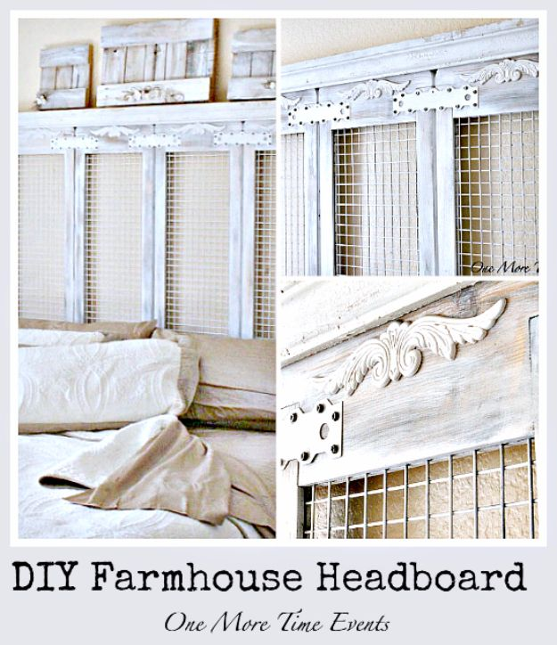 DIY Farmhouse Style Decor Ideas for the Bedroom - DIY Farmhouse Headboard - Rustic Farm House Ideas for Furniture, Paint Colors, Farm House Decoration for Home Decor in The Bedroom - Wall Art, Rugs, Nightstands, Lights and Room Accessories http://diyjoy.com/diy-farmhouse-decor-bedroom