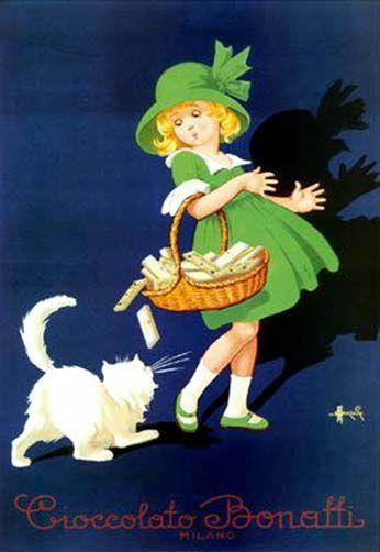 Vintage Italian Posters ~ #illustrator  #Italian #posters ~ Vintage Italian Chocolate Bonatti Candy Giclee Art Print