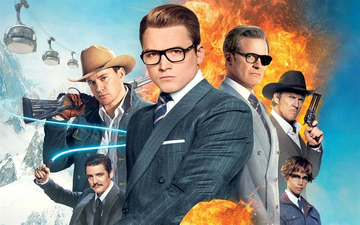 Download wallpapers Kingsman, The Golden Circle, 2017, Taron Egerton, Halle Berry, Channing Tatum, Colin Firth, Julianne Moore