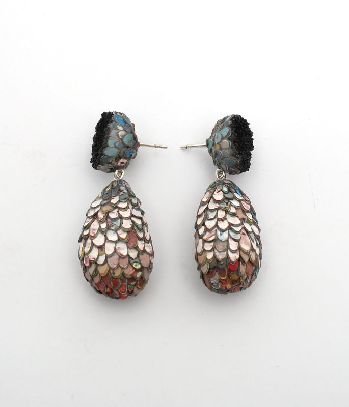 Drop shaped earrings, 2015. Graffiti, glass, silver. Photo: Carina Shoshtary