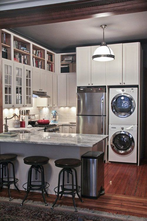 Best 25 laundry in kitchen ideas on pinterest laundry room landry room and laundry - Best washer and dryer for small spaces property ...