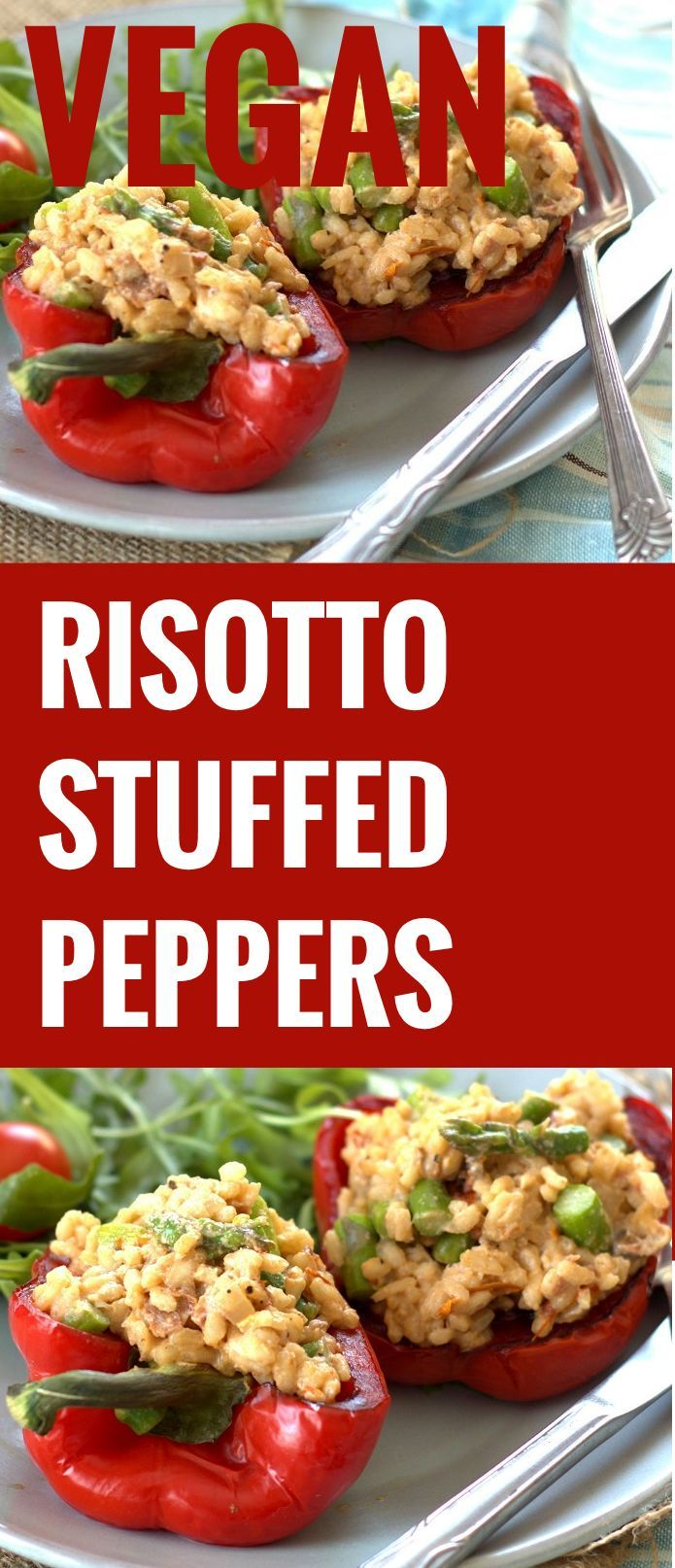 Creamy Vegan Risotto Stuffed Peppers with Asparagus and Sun-Dried Tomatoes
