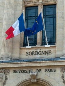 Close-up on the Sorbonne University entrance, an iconic institution in Paris and around the world
