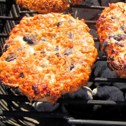 Grilled Dorito & Black Bean Chicken Burger. Could do with ground turkey as well. Simple. Ground meat, black beans, Doritos.