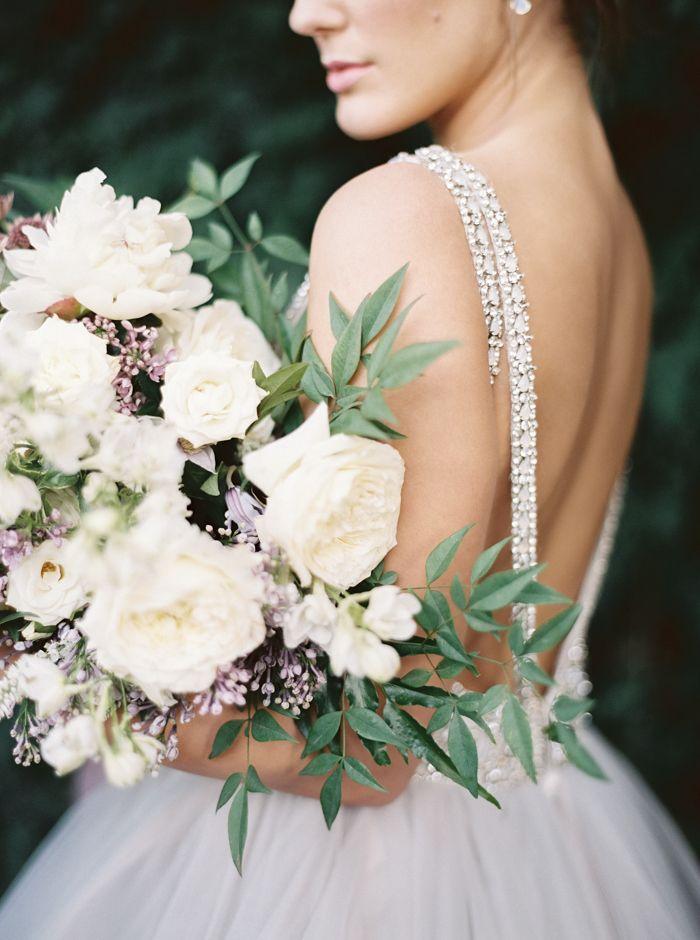 Low Back Crystal Wedding Dress with a Fine Art Garden Bouquet