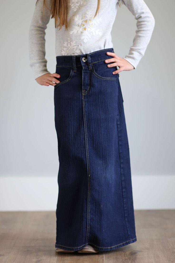 'Bailee' Long Jean Skirt for Girls