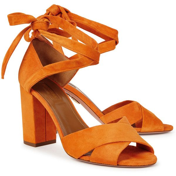 Aquazzura Tarzan orange suede sandals (161.240 HUF) ❤ liked on Polyvore featuring shoes, sandals, suede shoes, suede sandals, wrap sandals, open toe high heel sandals and tie sandals