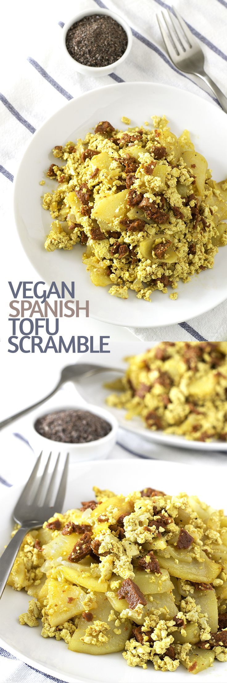 Vegan Spanish Tofu Scramble with Potatoes and Chorizo #vegan