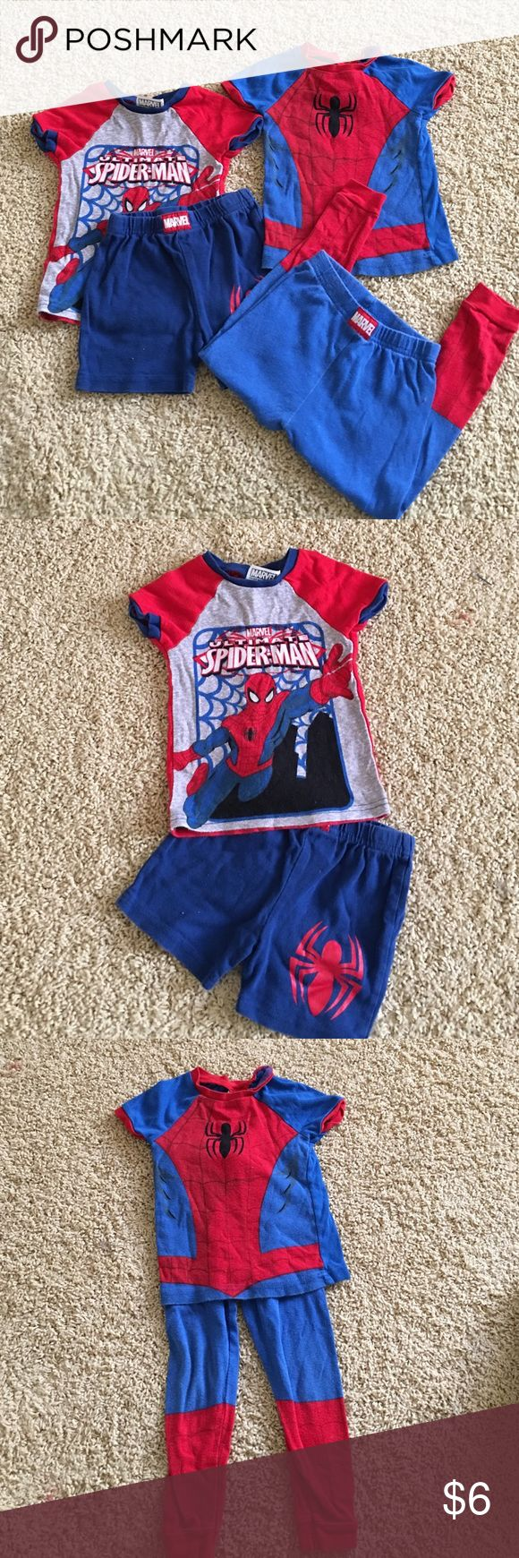 Spider man PJ's size 3T set of 2! Cute spider 🕷 man pjs pajamas! Set of two one with shorts one with pants! Size 3T Marvel Pajamas Pajama Sets