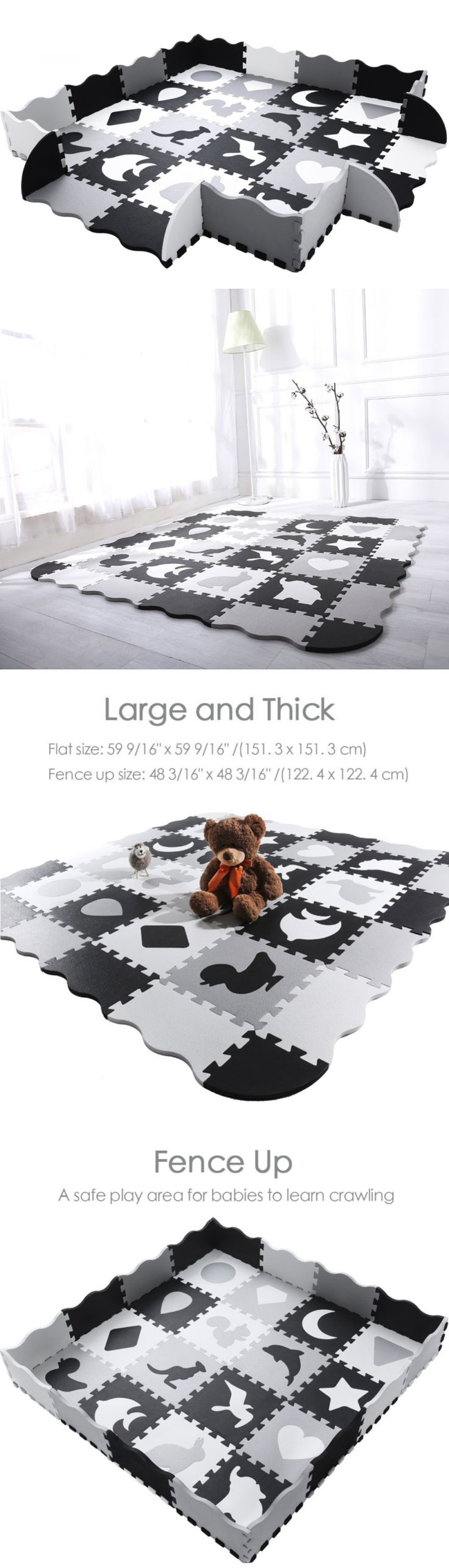 Best 25 foam floor tiles ideas on pinterest interlocking floor baby gyms and play mats 19069 baby play mat with fence superjare thick dailygadgetfo Images