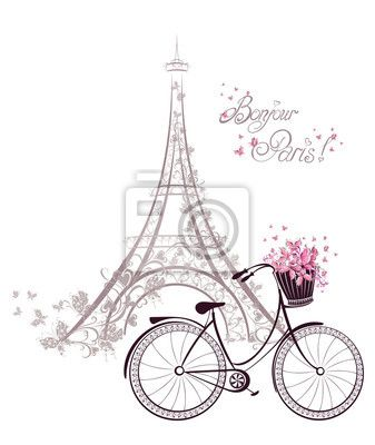 "Stickers ""tour, pedal, transportation - bonjour paris text with eiffel tower and bicycle"" ✓ Easy Installation ✓ 365 Day Money Back Guarantee ✓ Browse other patterns from this collection!"