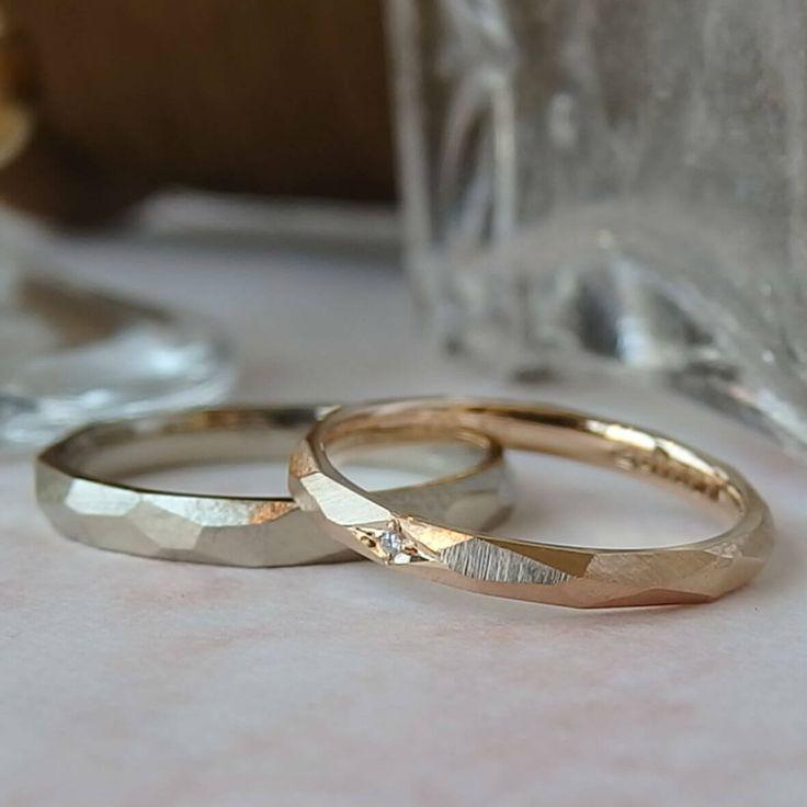 男性は深みのあるホワイトゴールドに、女性は華やかなピンクゴールドにダイヤモンドを1ピース。  [marriage,wedding,ring,bridal,K18,マリッジリング,結婚指輪,オーダーメイド,ウエディング,ith,イズマリッジ]