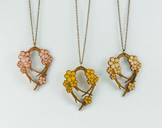 Cherry Blossom Necklace - Handmade - Laser Cut - laser cut jewelry