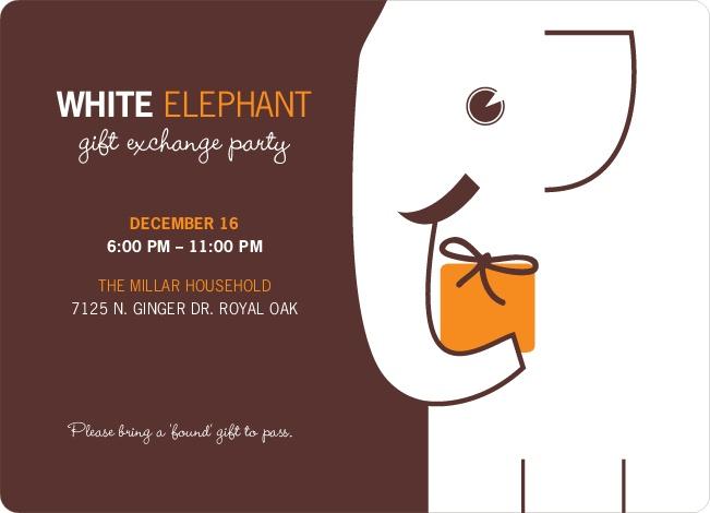 White Elephant on Tiny Prints for White Elephant Parties - Cantaloupe