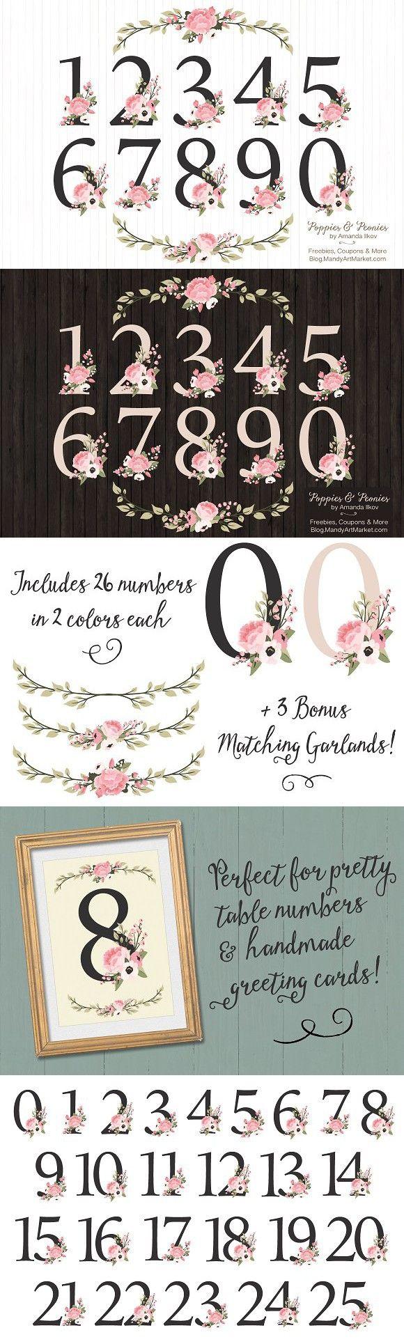 Soft Pink Floral Number Vectors. Wedding Fonts