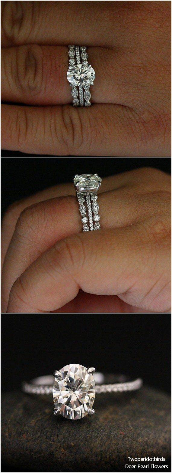 Moissanite Engagement Ring and Diamond Wedding Band Bridal Ring Set #weddingideas #rings #weddings ❤️ http://www.deerpearlflowers.com/engagement-rings-from-twoperidotbirds/