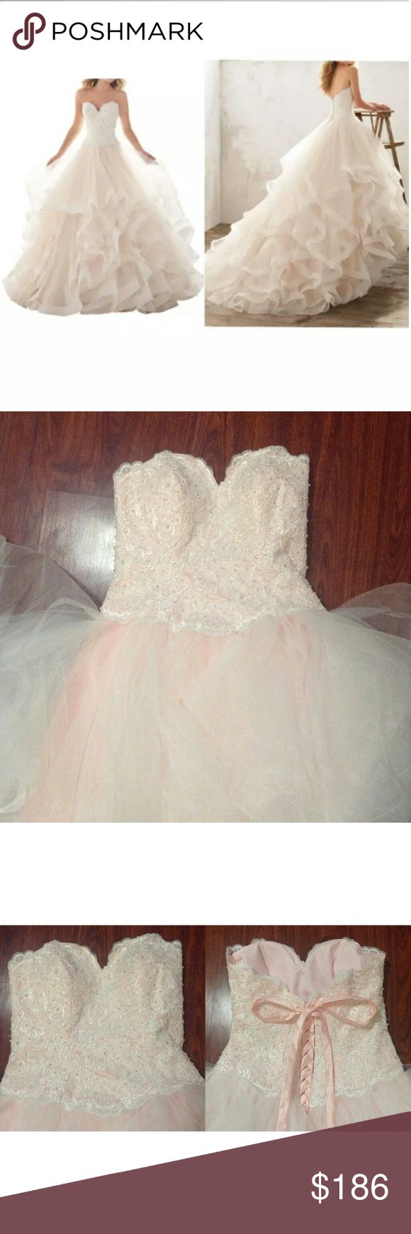"NEW Pink Strapless Beaded Ruffled Wedding Dress US Women's Size 14.  MINIMUM NATURAL HEIGHT REQUIREMENT IS 5'5""!!!  Features: Strapless Padded in the bust Adjustable lace up Floral design w/ bling blings Ruffled layers Front white underslip under ruffles is shorter than the back. I suppose it's supposed to have a train.  Note***6th and 7th photos are not of this pink dress. I modeled the peach color dress in the same style size 8 a while back. It's just to let you see how it'll look on"
