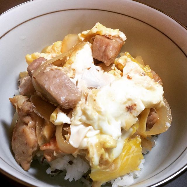 Bowl of rice with pork and egg 他人丼 夜食は他人丼。トロトロたまごを目指したけど、目を離した隙に手遅れ。残念。 #アメリカ#単身赴任#男飯#他人丼#たまご#トロトロ#肉#肉肉#美味しい #tennessee #knoxville #yammy #egg #pork #soysauce