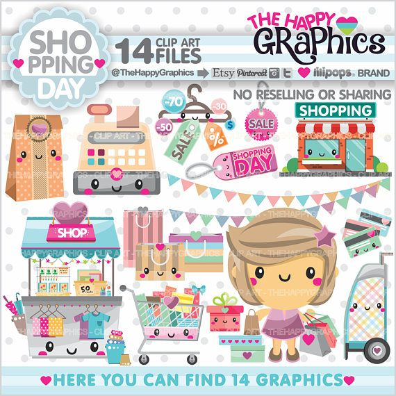 Shopping Clipart Shopping Graphics COMMERCIAL USE Shop