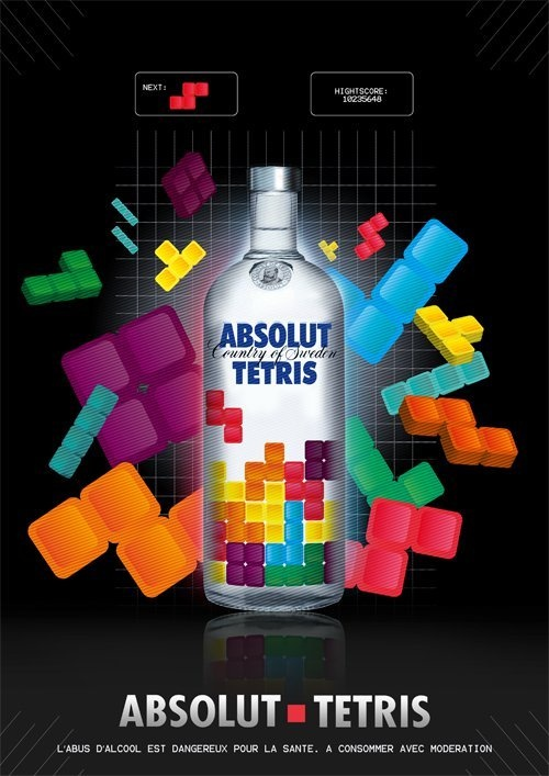 Absolut Tetris by Alexandre Markezana, via Behance