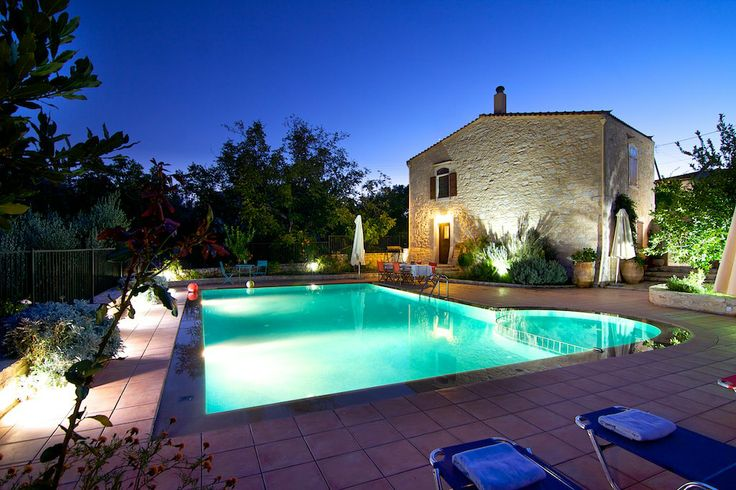 www.allaria.gr Villa Allaria Crete #villa #crete #greece #luxury #vacation_rental #holidays #private #pool #pool_area #night_time #summer_in_crete