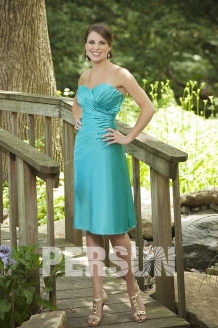 #Vestido de #Dama de #Honor Corto de Satén Verde con #Escote #Corazón Volante Corte A - Persun.es
