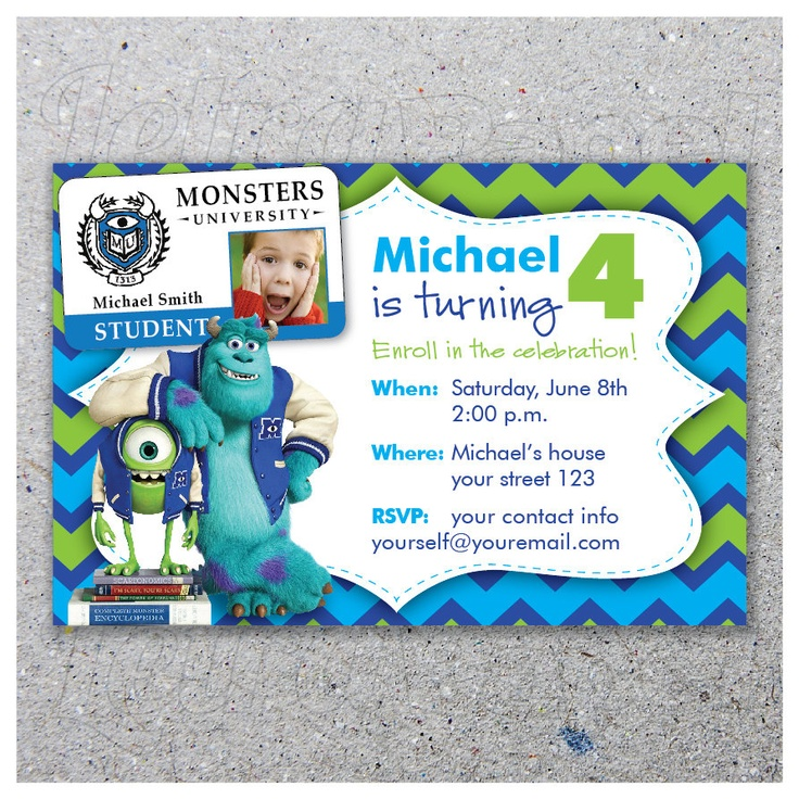 MONSTERS UNIVERSITY / Party invitation / by LetraPapel on Etsy, $10.00