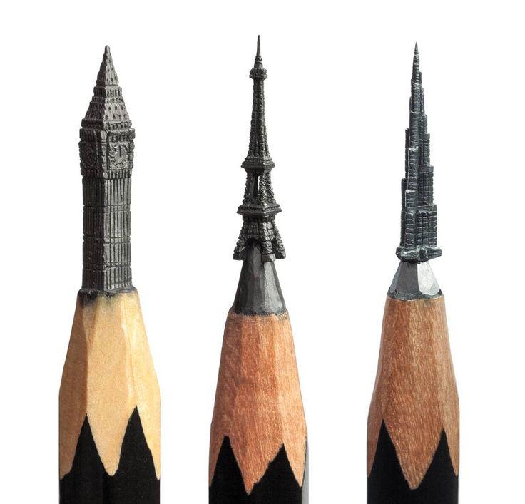 Delicate Pencil Lead Sculptures Carved by Salavat Fidai Art.